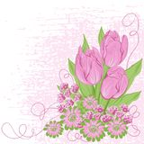 Design card  of vector tulips. (Flower background Stock Photography