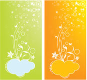 Design cards. Floral and star design cards Vector Illustration