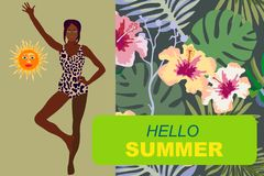 Hello summer card. Young black girl in bikini and tropical floral background. Design for cards, covers, posters, banners. vector illustration