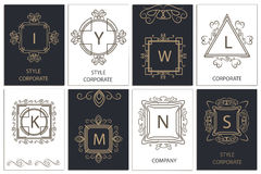 Design cards decorative, ornamental logos Stock Images