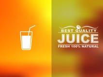 Design cards juice. Design cards for juice cafe or shop. Blurred background. Vector illustration Stock Illustration