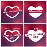Design cards for Valentine's Day. Blurred background. Set. Vector illustration Royalty Free Illustration