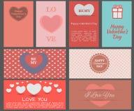 Design cards for Valentine's Day. Flat design. Set. Vector illustration Royalty Free Illustration
