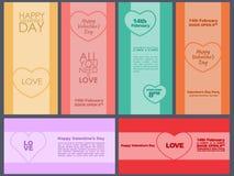 Design cards for Valentine's Day. Flat. Set. Vector illustration Vector Illustration