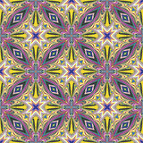 Design from the Caribbean. Seamless vector textile pattern in dynamic, vibrant and fancy colors, inspired by traditional motifs Stock Images