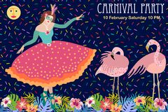 Tropical night. Dancing girl in beautiful ball dress and flamingos. Design for carnival party invitations, covers, books Royalty Free Stock Photography