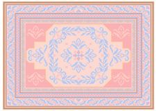 Design carpet with ethnic ornament of pink and bluish shades and a floral bluish pattern in the center. Luxurious carpet design with ethnic ornament of pink and royalty free illustration