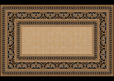 Design carpet with ethnic ornament on the sides and monophonic center. Luxurious bright old design carpet with ethnic ornament on the sides and monophonic center Stock Photos