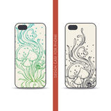 Design Case for Phone Abstract Mushroom Four. Design covers for the phone with a color and black hand drawn pattern of hallucinogenic mushrooms. Located on the Stock Images
