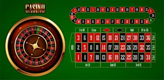 The design of casino advertising with elements of casino games on a green background. 3D vector. High detailed realistic. Casino advertising design with a tape royalty free illustration