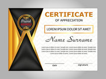 Design certificate of appreciation, diploma. Horizontal template Royalty Free Stock Photography