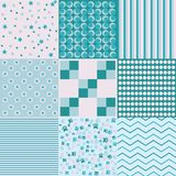 Design 8 Chic different vector patterns. Texture can be used for printing on fabric and paper or scrap booking. EPS. Vector background. Blue vector illustration