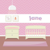 Design a child's room in pink for girls. Crib, swaddle table and framed pictures. Flat style vector illustration Stock Image