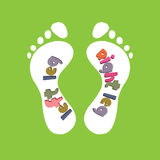 The design of children's insoles for shoes. Stock Photo