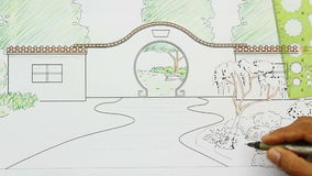 Design chinese garden plan stock video