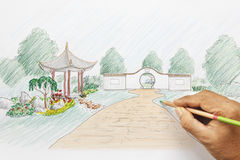 Design chinese garden plan Stock Photo