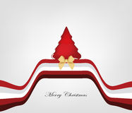 Design christmas card. Original greeting card with red christmas tree and gold ribbon Royalty Free Stock Photos