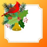 Design with Christmas card with floral elements and a cardinal bird. Christmas postcard with floral elements in holly bouquet and pine branches and a cardinal Stock Images