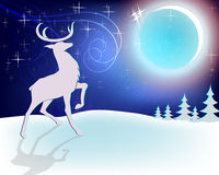 Design Christmas deer with moon Royalty Free Stock Photo