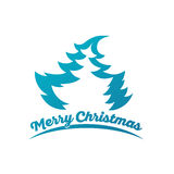 Design for Christmas greeting card. With Label Merry Christmas and Fir Tree isolated on white background Stock Photography