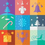Design Christmas design set: big collection, colorful. A colorful flat design Christmas icon set: Christmas tree, angel, bells, candy, snow flake, rein deer Royalty Free Stock Photography