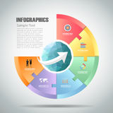 Design circle infographic 6 steps. can be used for workflow layout, diagram. Number options, bussiness concept Stock Images