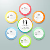 Design circle infographic template, Business concept 6 options. Stock Photography