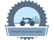Design for city bikers. Design, badge for mountain bikers with blue mechanic part as association for service stock illustration