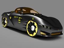 Design of the city car concept in a futuristic style. 3D illustration. Design of the city car concept in a futuristic style. Armored compartment. 3D royalty free illustration