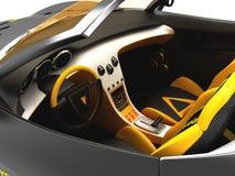 Design of the city car concept in a futuristic style. 3D illustration. Design of the city car concept in a futuristic style. Armored compartment. 3D stock illustration