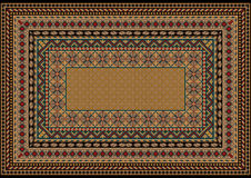 Design classic carpet with various patterns to border in light brown shades Royalty Free Stock Photos