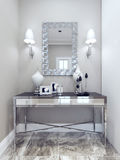 Design of classic hall. Mirror with decorative frame, wall, console, marble floor tiles. White and beige walls. 3D render Royalty Free Stock Photo
