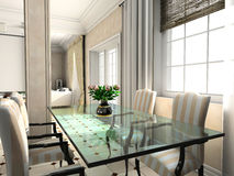 Design of classic interior. Dinner room. 3D render Royalty Free Stock Images