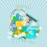 Design for cleaning service and cleaning supplies. Spring cleaning kit icons Stock Photo