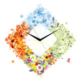 Design of clock. Four seasons, concept. Royalty Free Stock Images