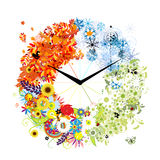 Design of clock. Four seasons, concept. royalty free illustration