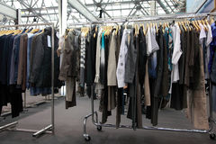 Design clothes hang at demonstration stand Stock Image