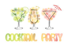 Design for cocktail party invitation with cocktails. Royalty Free Stock Image