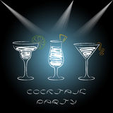Design for cocktail party invitation with cocktails. Royalty Free Stock Photos