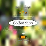 Design for cofee shops. Vintage hand-drawn elements, vectorized view of street objects, cup and stars Stock Photography