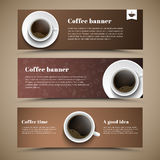 Design coffee banners with a cup of coffee. Banner for shops, cafes or restaurants. Web banners of different colors. Vector illustration. Set Royalty Free Stock Photos