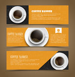 Design coffee banners with a cup of coffee. Design of horizontal banners with coffee cup of coffee. Banner for shops, cafes or restaurants. Web banner with hand Royalty Free Stock Photos
