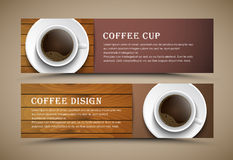 Design coffee banners with a cup of coffee. Design of horizontal banners with coffee cup of coffee on wooden texture. Banner for shops, cafes or restaurants Royalty Free Stock Image