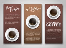 Design coffee banners with a cup of coffee. Samples of coffee vertical banners with a cup of coffee. Banner for shops, cafes or restaurants. Web banners of Stock Photography