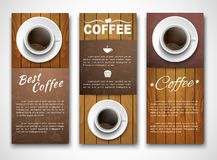 Design coffee banners with a cup of coffee. Samples of coffee vertical banners with a cup of coffee on wooden texture. Banner for shops, cafes or restaurants Royalty Free Stock Image