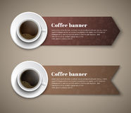 Design coffee banners with a cup of coffee. Design coffee banners in the shape of arrows and ribbons with a cup of coffee that is worth to them. Banner for Stock Images
