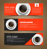 Design coffee banners with a cup of coffee. Template Coffee horizontal banners with a cup of coffee. Banner for shops, cafes or restaurants. Web banner with Stock Image