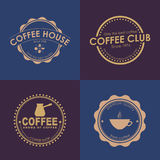 Design coffee logo on colored backgrounds vector illustration