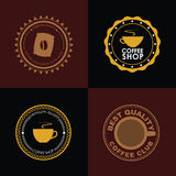 Design coffee logo on colored backgrounds Royalty Free Stock Images