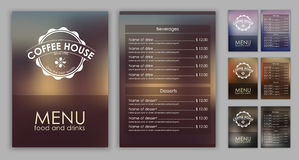Design coffee menu with blurred background Royalty Free Stock Photography